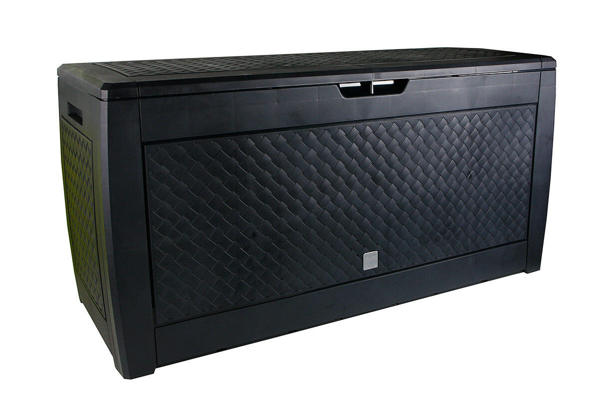 Utilidad de almacenamiento de jardín Negro Talla XL Cojín Caseta de plástico totalmente A Prueba De Agua Caja