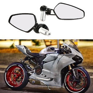 Black-7-8-034-Handle-Bar-End-Rearview-Mirrors-Custom-For-Ducati-1199-Panigale