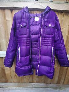 c2454861b61 Image is loading Lands-End-Girls-Hooded-Purple-Puffa-Coat-Size-
