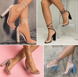 77c5a7af59 Womens Block Heel Ankle Strap Lace Up Sandals Ladies Peep Toe Clear ...