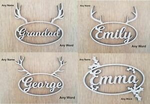 ANY-NAME-WORD-Personalised-Wooden-Reindeer-Holly-Christmas-Place-Name-Xmas