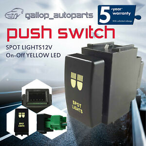 Suit-For-Nissan-Navara-D40-Patrol-Y61-Push-Switch-Yellow-SPOT-LIGHTS-ON-OFF-12V