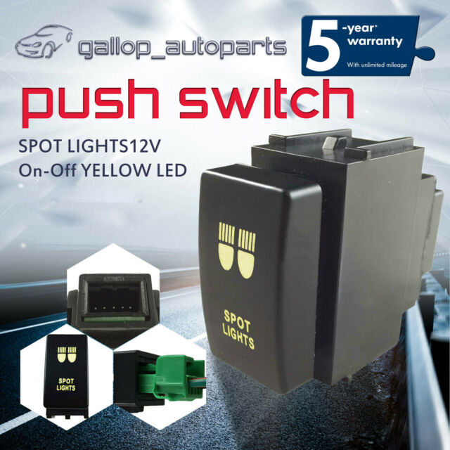 Suit For Nissan Navara D40 Patrol Y61 Push Switch Yellow SPOT LIGHTS ON-OFF 12V