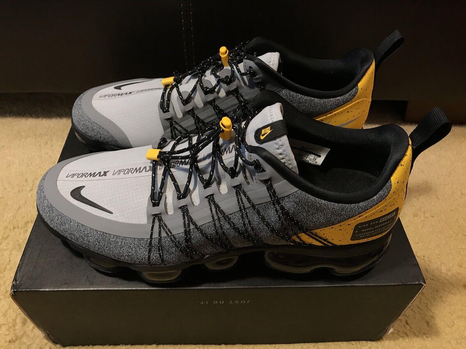 Nike Air Vapormax Run Utility Men's sz 10 Wolf Grey Black yellow AQ8810 010
