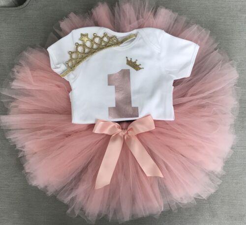 Luxury Girls 1st First Birthday Outfit Tutu Skirt Cake Smash Set Rose Gold