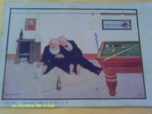 1904-POSTCARD-BILLIARDS-POOL-TABLE-MEN-DRINKING-DRUNK-ARTIST-SIGNED-BERNARD-WALL