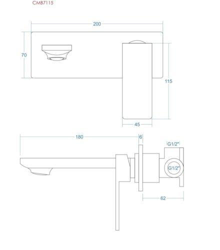 Unterputz-Batterie Waschbecken-Armatur modern schwarz TRINO eckig
