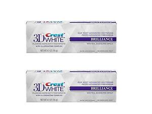 2 X Crest 3D White Brilliance White Dentifrice 116 ml Blanchiment des dents