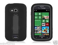 Samsung ATIV Odyssey i930 Hybrid S Armor Case Skin Cover w Stand Black