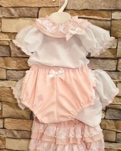 Dream 0-6 ans chemisier rose et Frilly Bum Pantalon Set ou Reborn Dolls