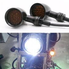 Black Motorcycle Bullet Led Turn Signals Amber Light Blinker For Harley Davidson