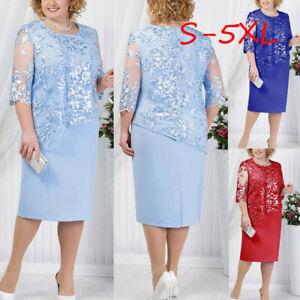 Women-Summer-Plus-Size-Lace-Sequin-Short-Midi-Dress-Cocktail-Evening-Party-Dress