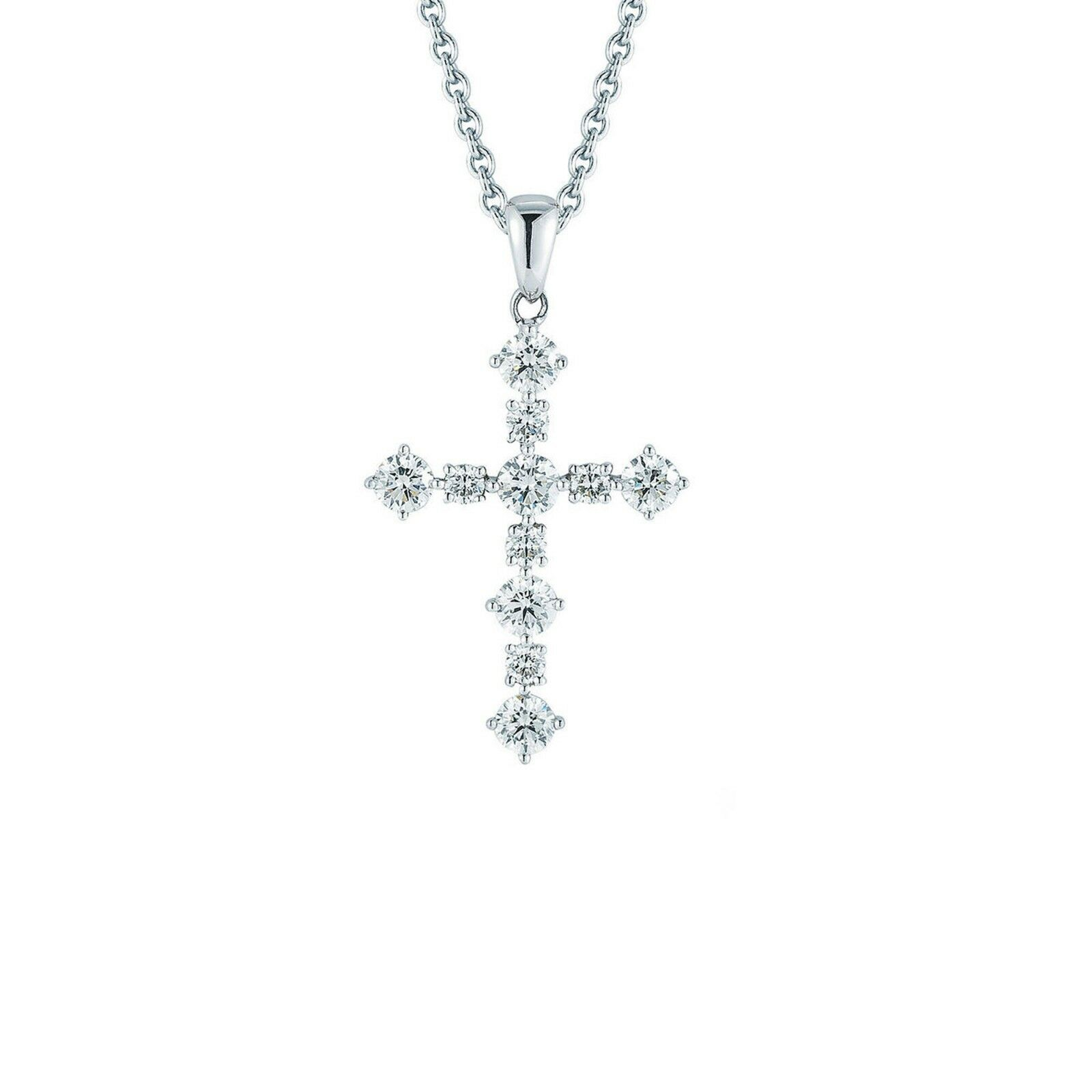 0.95 ctw Round Diamond 14kt White gold Finish Cross Pendant with Chain