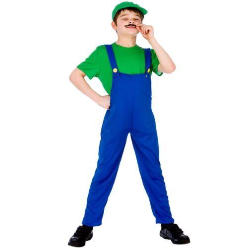 Green Idraulico Divertente Bambini Ragazzi Videogioco Costume Mario Luigi Taglie 5-13 anni