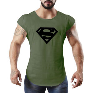 37ab35e62e10e Men s Fitness Gym Superman Tank Tops Muscle Bodybuilding Stringer ...