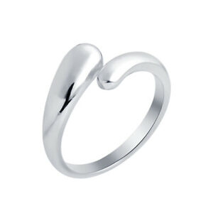 Women-039-s-Adjustable-Polished-Toe-Ring-14k-White-Gold-Plated-Midi-Ring