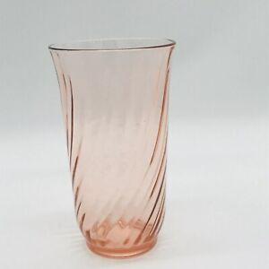 Vintage-Arcoroc-France-Pink-Glass-Swirl-Drinking-Tumbler