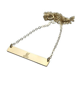 Image Is Loading Gold Bar Necklace Initial Horizontal Pendant