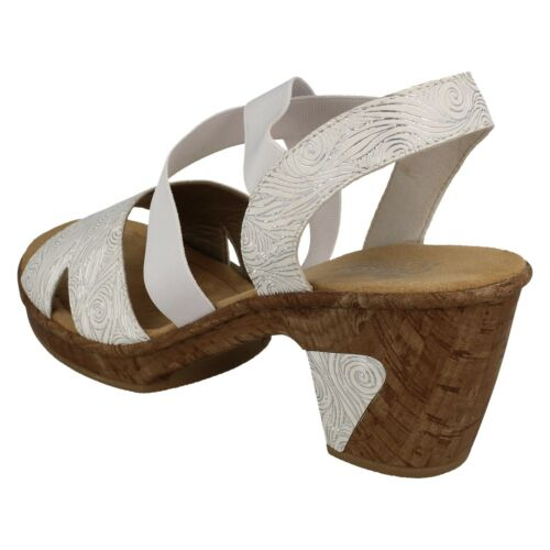 Damen Rieker 69720 Slipper Slingback Casual Sommer Sandalen Blockabsatz Größe Weiss (White)