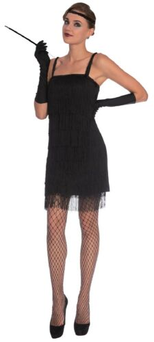 Ladies Black Flapper 1920s Charleston Great Gatsby Fancy Dress Costume UK 8-18