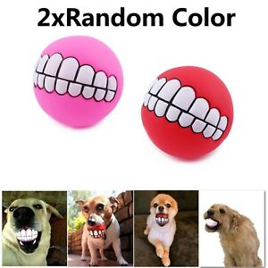 Pet Dog Ball Teeth Funny Silicon Toy Chew Squeaker Squeaky Sound Dogs Play Toy N