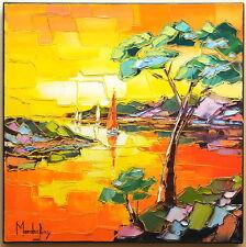 SOLEIL DU SOIR A CASSIS tableau peinture huile painting PFLEGER MANDRAFINA