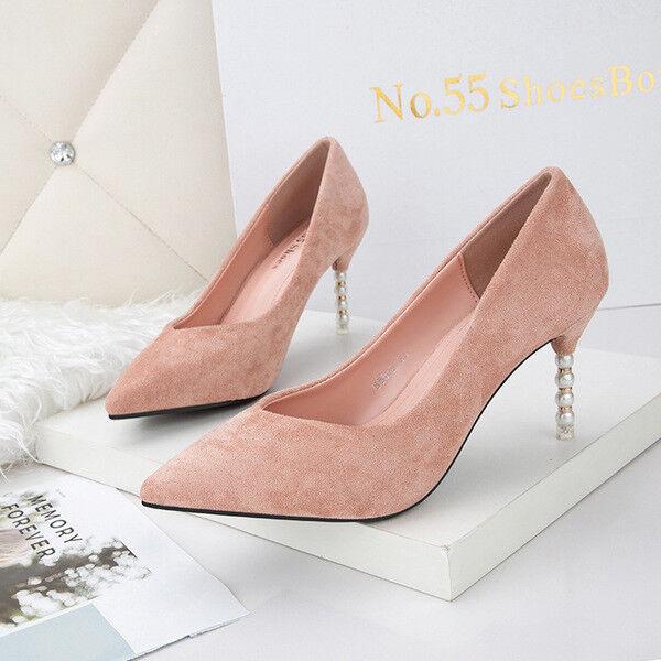Zapatos de de de salón 10 cm joya ante tacón de aguja elegantes rosadodo como piel 9666  marcas en línea venta barata