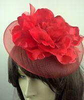 bright red satin flower crin fascinator hair clip headpiece wedding party piece