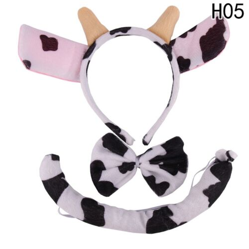 3Pcs//Set Animal Costume Headband Bow Tail Set Party Fancy Dress for Kid Child