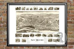 Old-Map-of-New-Milford-CT-from-1906-Vintage-Connecticut-Art-Historic-Decor