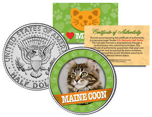 MAINE-COON-Cat-JFK-Kennedy-Half-Dollar-US-Colorized-Coin