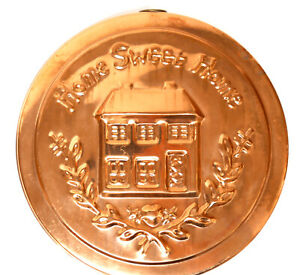 """Copper Mold """"Home Sweet Home"""" 9 1/2"""" Round Vintage 1970's with Brass Hanger"""