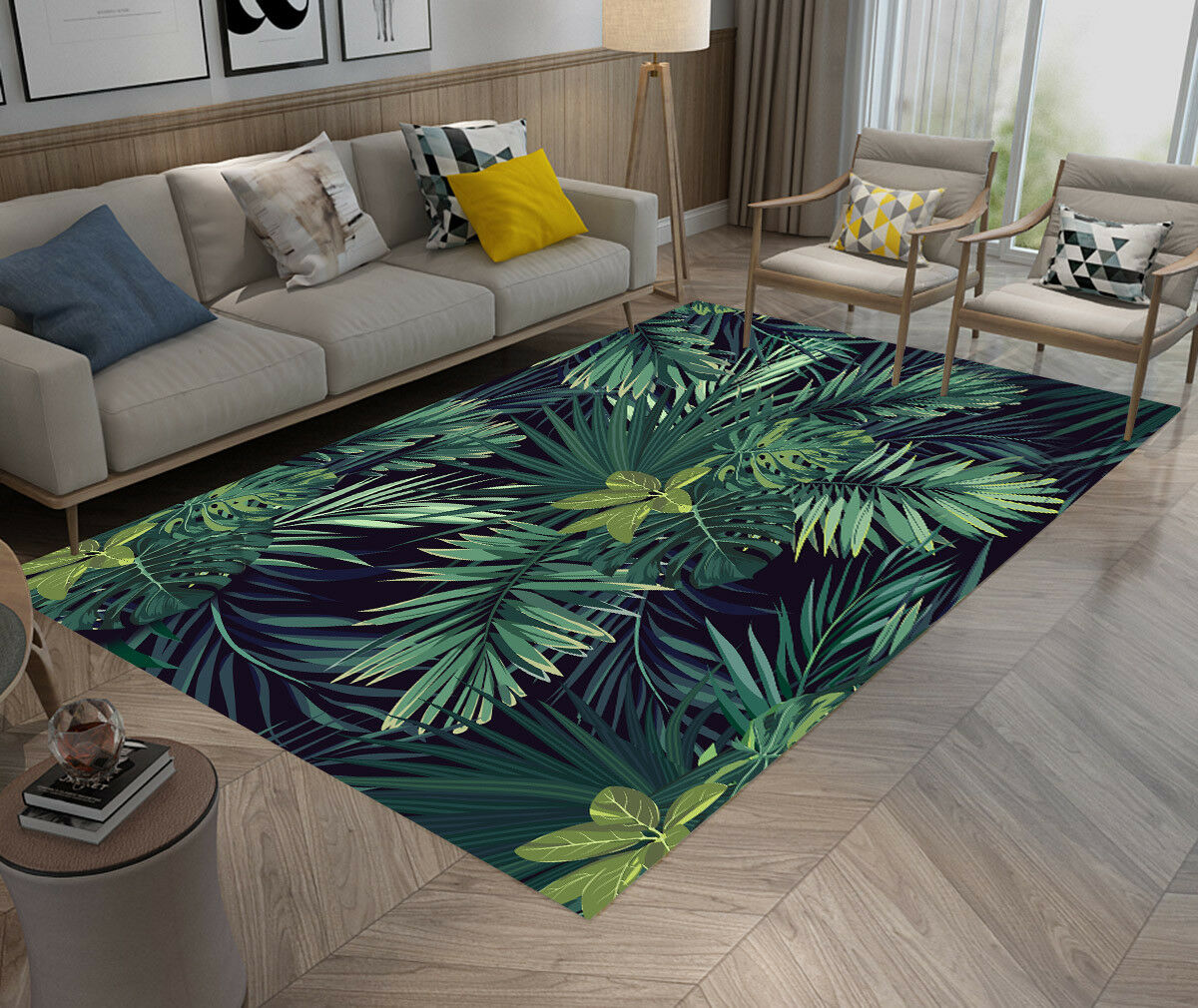 Tropical Palm Leaf Home Non-slip Area Rug Floor Mat Living Room Bedroom Carpet