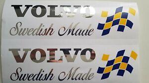 VOLVO-SWEDISH-MADE-SWEDISH-FLAG-CHROME-VINYL-HIGH-QUALITY-STICKER-FH12-FH16-FMX