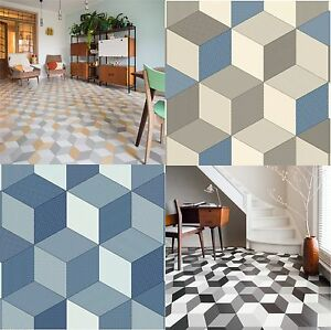 Cushioned Vinyl Flooring Sheet Cube It Geometric Design