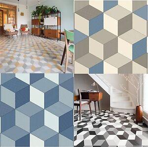 Cushioned Vinyl Flooring Sheet Cube-it Geometric Design ...