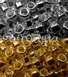 100-Metallic-Silver-or-Gold-Chrome-Pony-Beads-9x6mm-Barrel-Shape-BUY-3-FOR-2