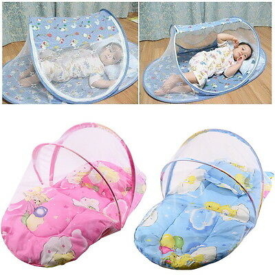 New Foldable New Baby Cotton Padded Mattress Pillow Bed Mosquito Net Tent LO