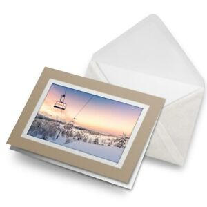 Greetings-Card-Biege-Pretty-Sunset-Ski-Lift-Skiing-Snowboard-8420