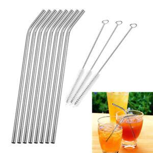 8pcs Edelstahl Metall Trinkhalme Strohhalme Straw 3 Reinigung Bürste Brush Set