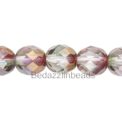 50 Two Toned Pink /& Purple Luster 8mm Round Czech Glass Fire Polished Beads