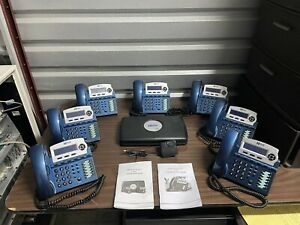 XBlue X-16 Phone System - (7) VOIP Model EKT-Vivid Blue 1670-92 Phones
