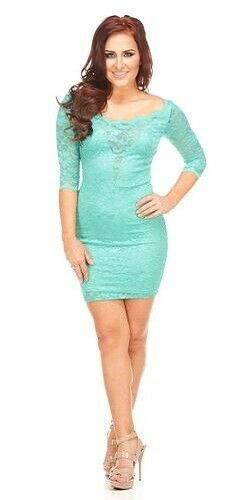 Teal Green Lace Bodcyon Lace Long Sleeve Dress