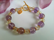 Handmade Genuine Gemstone Jewellery, Ametrine & lemon quartz bracelet