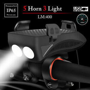 USB-Rechargeable-LED-Bicycle-Headlight-Handlebar-Phone-Holder-Bike-Cycling-Horn
