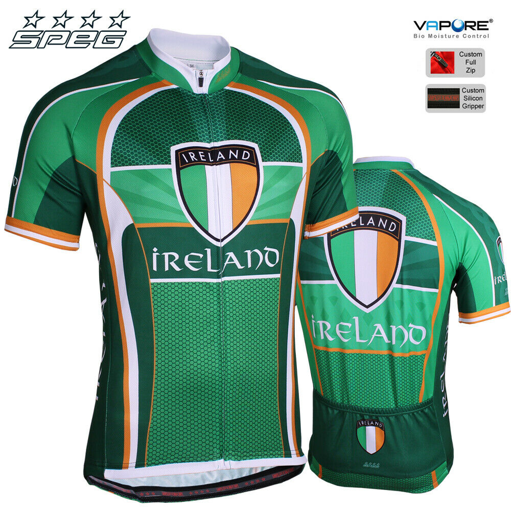 SPEG Ireland Mens Short Sleeve Cycling Jersey Full Zipper 100% Vapore® verde