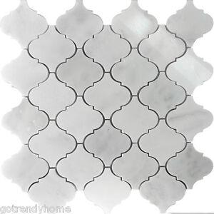 Details About 1 1sf White Marble Natural Stone Moroccan Pattern Mosaic Tile Kitchen Backsplash