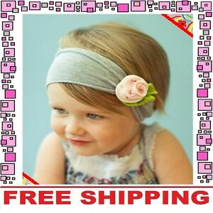 Pink-Flower-Bow-Headband-Hairband-Accessories-Girls-Baby-Infant-Toddler-Children