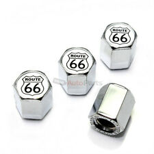 4 Route 66 Silver Logo Chrome ABS Tire/Wheel Stem Air Pressure Valve CAPS Covers