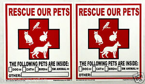 2 New RESCUE OUR PETS Window Decals,Exterior Weatherproof, Save Dog Cat Bird Etc